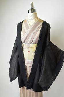 ブラックにスポットパターンとボヘミアンレース幾何学モダンな薄羽織