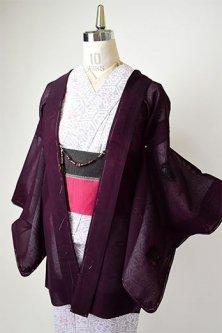 ブラックガーネットルージュに刺繍花アラベスク美しい紗の薄羽織