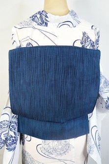 海のような青よろけ縞美しい正絹変わり絽の夏名古屋帯