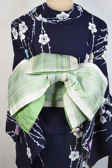 ステッチのような博多風装飾縞模様小粋な半幅帯(フロスティグリーン)