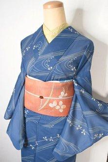 薄群青に清流と萩の葉美しい高級化繊絽の夏着物