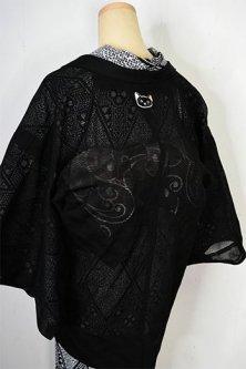 洒落猫紋モダン薄羽織(ブラック波ストライプ)