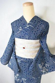 紺瑠璃に四季の草花寄せ小紋美しい綿絽レトロ浴衣