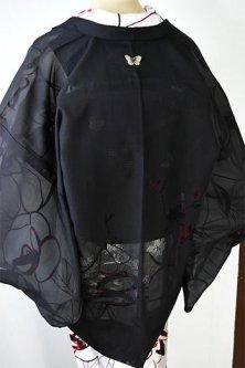 蝶々洒落紋と蜘蛛の羽織紐小粋な黒の薄羽織(流水花枝)