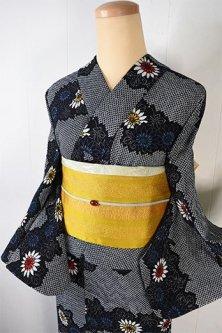 鹿子と菊花の霞ボーダー小粋なリップル調注染浴衣