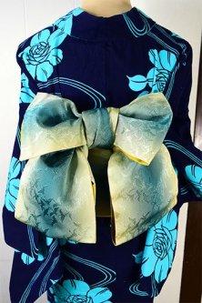 献上風の縞と群れ飛ぶ鶴美しい半幅帯(トパーズ&ターコイズ)<※サイズ選択あり>