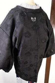 洒落猫紋モダン薄羽織(黒地なでしこの花透かし)