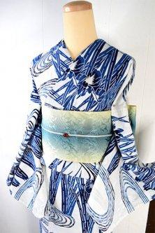白地に清々しい藍の流水杜若美しい注染レトロ浴衣
