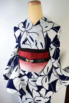 紺と白のバイカラー蝶々模様モダンな注染レトロ浴衣