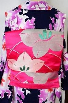 ピンクルージュに桔梗の花美しい大正ロマン単帯