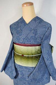 紺瑠璃地に楓づくし雅やかな綿単着物風レトロ浴衣