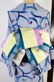 マルチカラーボーダーに松葉水玉ふわりと浮かぶ半幅帯(藤花浅葱)