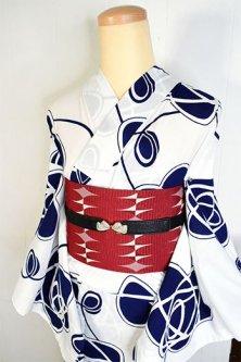 白と紺のグラフィカル薔薇モチーフモダンな注染レトロ浴衣