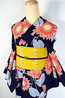濃紺色地にソレイユカラーひまわりの花美しい注染レトロ浴衣