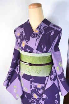 紫の変わり市松に花椿美しい変わり織り浴衣