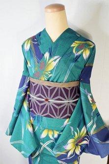 緑と青鈍色の縞に百合の花美しい先染綿紬注染レトロ浴衣
