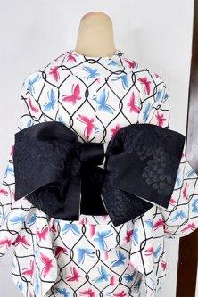 ふわり八重菊美しい半幅帯(モノクローム)