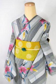 変わり織りドット先染グレーストライプに百合の花美しい注染レトロ浴衣