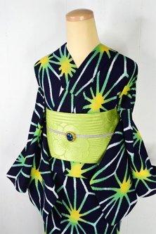 紺色地に緑美しい麻の葉模様モダンな注染レトロ浴衣