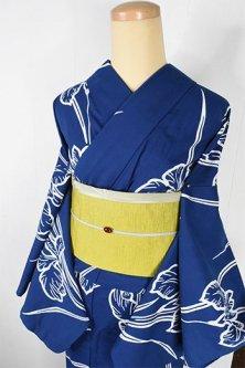 紺瑠璃色地に杜若の花美しい注染レトロ浴衣
