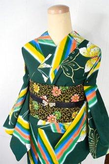 ディープグリーンに虹と蝶々美しいモダン浴衣