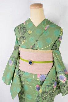 スモークハーブグリーンの水玉に撫子の花美しい注染レトロ浴衣