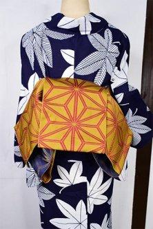麻の葉づくし半幅帯(からし色×鉄紺)