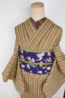 ベージュ変わり織りドット縞格子小粋なウール単着物