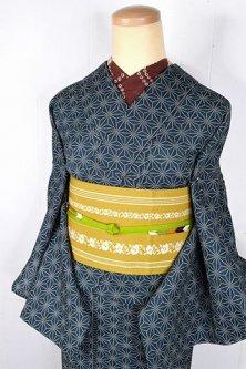 濃青緑色に麻の葉文様小粋な江戸小紋調ウール単着物