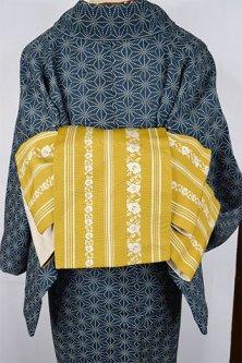 博多帯風の椿縞愛らしい化繊半幅帯(芥子色)