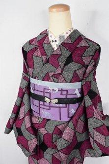 グレーとルージュピンクのエッシャーのアートのような幾何学パターンモダンなウール単着物