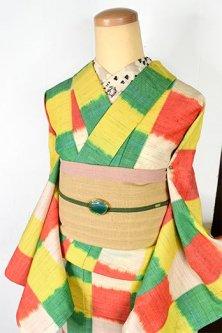 ブルーナカラー絵本のようなブロックチェックモダンなウール紬単着物