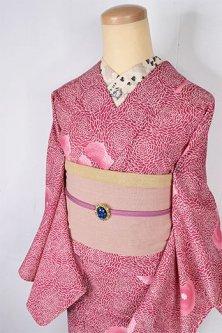 ルージュピンクのポンポンダリアフラワー愛らしいウール単着物