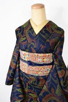 ミッドナイトネイビーに鳳凰アラベスク美しいウール単着物