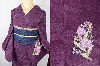 プラムパープルの森に花のボヘミアン刺繍美しいウール単着物