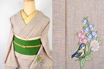 ふんわりマカロンボーダーに花と小鳥のボヘミアン刺繍美しいウール単着物