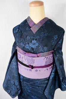 サファイアブルーブルーフローラルデザイン美しいシルクウール調単着物