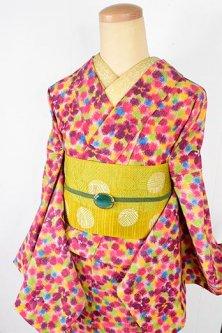カラフル金平糖水玉にお花愛らしいウール単着物