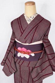 葡萄酒色の立涌縞小粋なウール単着物