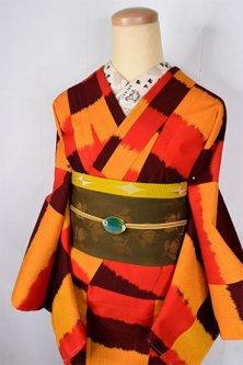 ロートレックカラーのブロックボーダーモダンなウール単着物