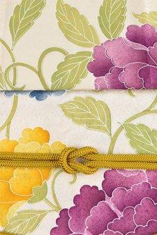 帯締めと昔着物の柄帯揚げ・半衿セット(黄芥子色ピオニーアラベスク)