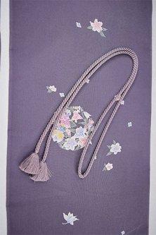 帯締めと昔着物の柄帯揚げ・半衿セット(花冠モーヴミスト)