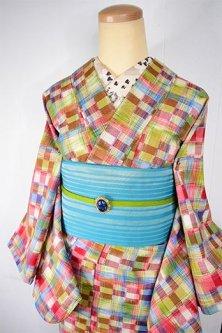 ガーリー市松に色鉛筆チェック愛らしいウール単着物