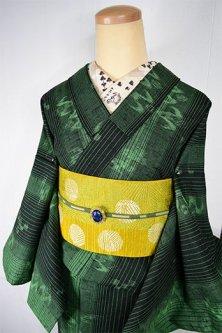 緑美しい滝縞に燕絣小粋なウール紬単着物