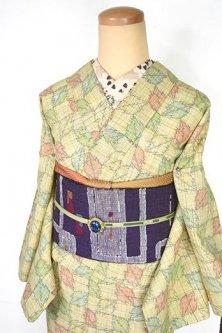 パステルチェックに木の葉のような幾何学模様ナチュラルモダンなウール単着物