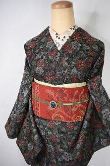 メタリックグレーにロマンチックフラワー美しいシルクウール風単着物