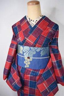 赤と青ツートーンカラーチェックモダンなウール単着物