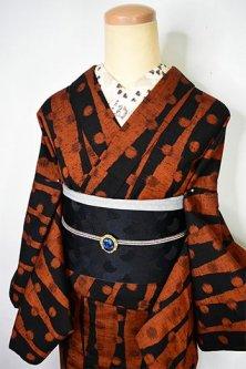 ブラウンとブラックの水玉立涌縞レトロモダンなウール紬単着物