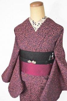コーラルルージュのビンテージレースのようなペイズリーアラベスクロマンチックなウール単着物