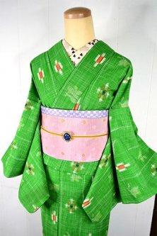 シトラスイエローグリーンに光きらめくような絣模様ナチュラルキュートなウール単着物